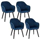WOLTU 4X Sillas de Comedor Nordicas Estilo Vintage Juego de 4, Sillas de Cocina Sillas Tapizada con Reposabrazos en Terciopelo, Estructura de Madera Sillas de Escritorio Azul BH259bl-4