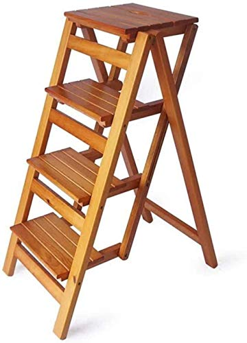 AISHANG - Taburetes para escalones de escalera, plegable, 4 pasos, taburete de bar, taburete de escalera para el hogar, silla de comedor, taburete de madera, banco de herramientas