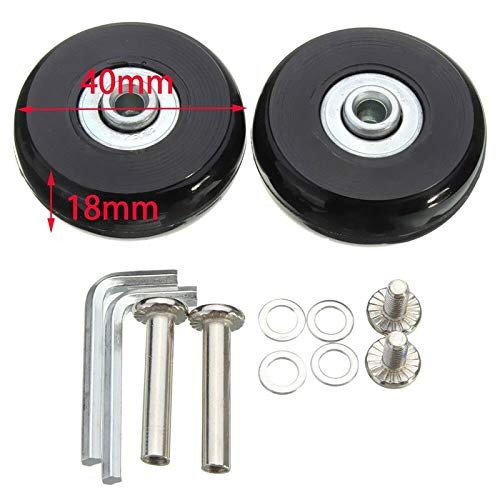 KF-Wheels 2PCS Black Luggage Bag Suitcase Replacement Rubber Wheels Axles Repair Accessories No Noise Casters OD 40mm/54mm/60mm/64mm/80mm (Size : 40mm X 18mm)
