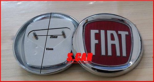 Fiat - Logo con escudo, insignia, rojo, de 85 mm, trasero