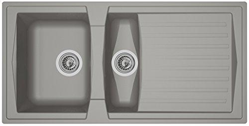 Respekta Évier de cuisine en minéralite 100 cm gris béton BOSTON100X50G