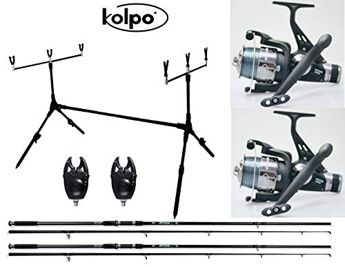 kolpo Kit Combo Carpfishing 2 Canne 2 Mulinelli 2 Segnalatori 1 Pod Pesca Carpa