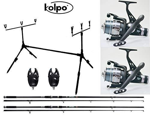 kolpo Kit Combo Carpfishing 2 Canne 2 Mulinelli Camo 2 Segnalatori 1 Pod Pesca Carpa