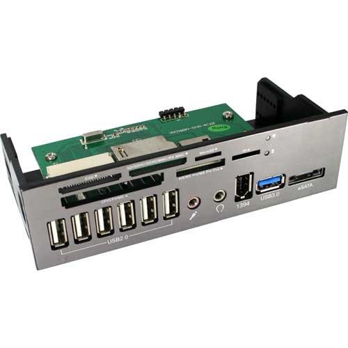 Inline Front Panel Kaartlezer 13,3 cm 5,25 Inch met Audio 1x USB 3.0 1x eSATA 6x USB 2.0