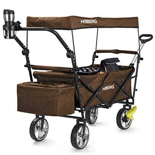 Hoberg Faltbarer Premium-Bollerwagen inkl. Dach (LSF30)   Getränkehalter, Kühltasche, Bremsen, Handwagen, Transportwagen [80kg Tragkraft/Braun]