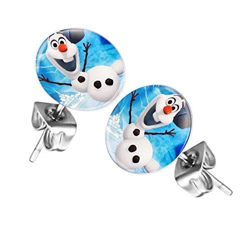 Mianova Ohrringe Stecker Rund Klein Ohrstecker Runde Platte Silber mit Winter Weihnachts Motiv Olaf Snowman Frozen Schneemann