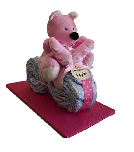 Moto de pañales en color rosa, tarta de pañales original ideal como regalo para bebé