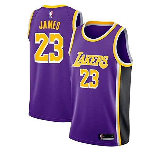 AKCHIUY Herren-Basketballtrikot, Lebron James # 23 NBA Los Angeles Lakers, Neues Atmungsaktives ärmelloses Swingman-Trikot,Purple(C)-XS