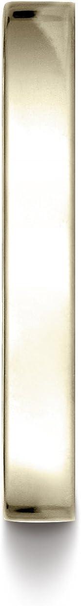 Benchmark 14K Yellow Gold 3mm Traditional Flat Wedding Band Ring (Sizes 4-15)