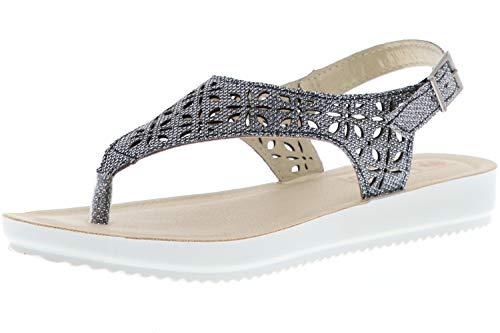 inblu Damen Zehentrenner Sandaletten Glitzeroptik Silber, Größe:42;Farbe:Silber