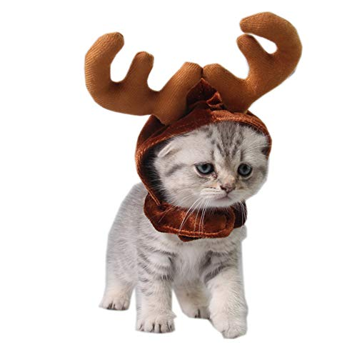 Abnaok Katze Kostüm Weihnachten Rentier Geweih Hut, Katze Weihnachtskostüm Haustier Weihnachtskostüm für Katzen und kleine Hunde