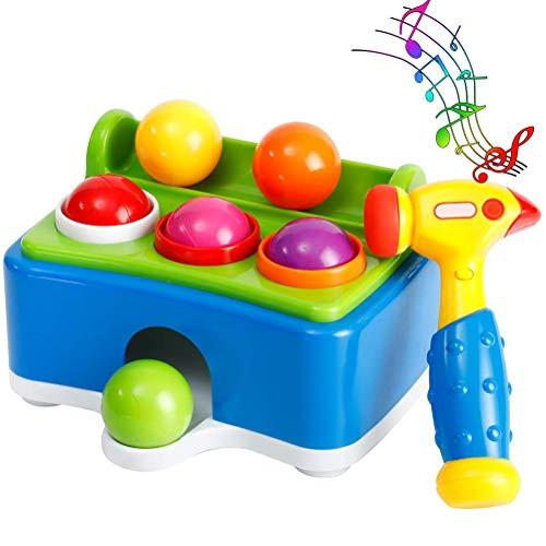 Stylelove Hölzernes Hammerballspielzeug - Babyhammer- und -pflockspielzeug - Hölzernes Musikspielzeug für Kinderintelligenzübung Intelligenztraining