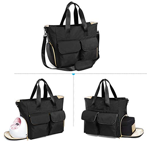 Teamoy Breast Pump Bag Compatible for Spectra S1,S2, Medela and Cooler Bag, Breast Pump Storage Tote with Laptop Sleeve (Up to 14'') for Working Moms, Large Capacity and Multi-Function (Tote -Black)