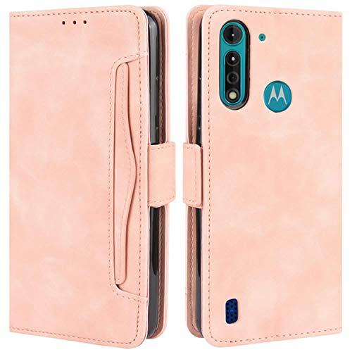 HualuBro Handyhülle für Motorola Moto G8 Power Lite Hülle Leder, Flip Hülle Cover Stoßfest Klapphülle Handytasche Schutzhülle für Motorola Moto G8 Power Lite Tasche (Pink)