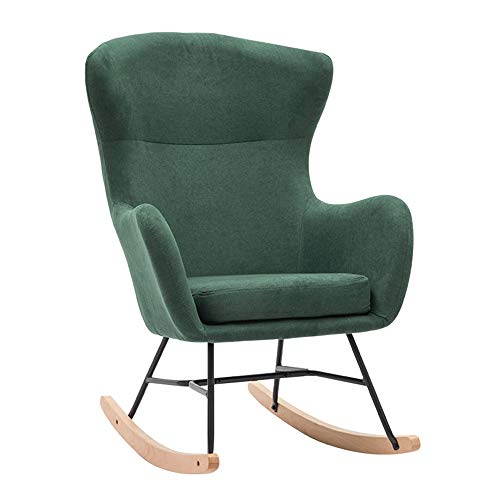 Axdwfd Chaise longue Chaise longue, Fauteuil à bascule simple Lazy Sofa Nap Chair Chaise en bois massif pour adultes Inclinable Balcon Happy Chair 85x54x110cm (Color : Green)