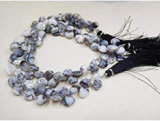 """Jewel Beads Natural Beautiful jewellery 8-13 mm dendrite opal faceted side drill heart shape beads 8""""Code:- JBB-19326"""