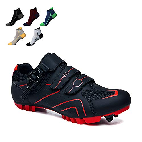 UYBAG MTB Cycling Shoes with Velcro Strap and Lock System Adults Outdoor Mountain Bike Sport Shoes with 5 Pairs Sports Socks Best Gift for Family and Friends,45