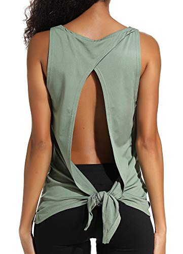 INSTINNCT Damen Tank Tops Casual Ärmellos Rückenfrei Shirts für Yoga Workout #2 Grün L