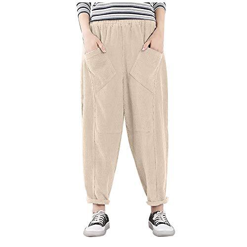 Pantalones harén de pana retro para mujer, cintura elástica, sueltos, casuales, pantalones de pierna ancha, cómodos y novedosos pantalones de chándal para correr
