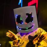 Vercico DJ Marsh-Mallow Maske Musik Festival DIY Voller Marsh-Mello LED Mask Halloween, Cosplay, LED...