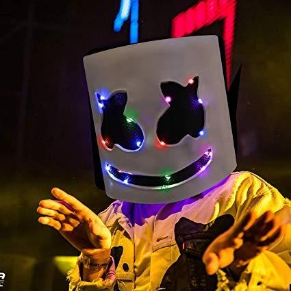 Vercico DJ Marsh-Mallow Maske Musik Festival DIY Voller Marsh-Mello LED Mask Halloween, Cosplay, LED Maske, Bar Halloween Party Nachtclub Weiße Blitz Maske