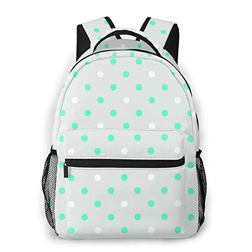 CVSANALA Multifuncional Casual Mochila,Patrón de puntos blancos verdes,Paquete de Hombro Doble Bolsa de Deporte de Viaje Computadoras Portátiles