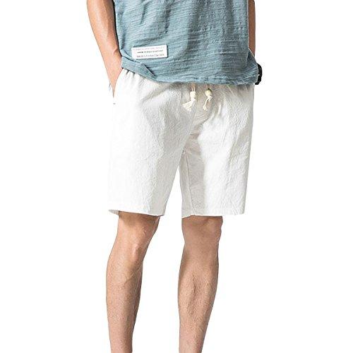 YOUTHUP Pantaloncini da Uomo Bermuda in Vita Elasticizzata Pantaloni di Lino