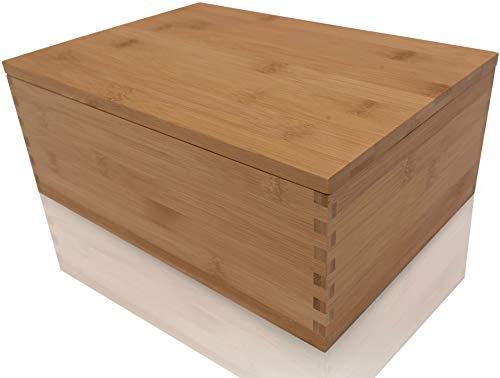 Blake & Lake Wood Stash Box with Rolling Tray - Wood Stash Box w/Storage - Rolling Tray Stash Box - Premium Quality Dovetail Design Discrete Wooden Stash Boxes (Natural)