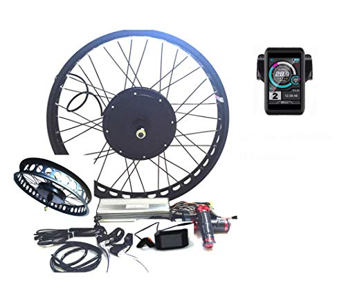 "theebikemotor 3000W Hub Motor Ebike Kit Conversione Bici Elettrica + LCD or TFT Display + Disc Brake Rear Wheel (20"" * 4.0 Fat Wheel + 7 Speed Gear, 48V3000W + TFT Display)"