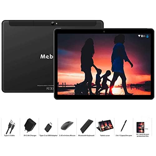 Tablet 10 Pollici MEBERRY Android 9.0 Pie Tablets 4GB RAM + 64GB ROM - Certificato Google GSM - Dual SIM | 8000mAh | WI-FI| Bluetooth | GPS |Type-C (5.0+8.0 MP Telecamera) - Nero