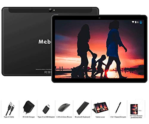 Tablet 10 Pollici MEBERRY Android 9.0 Pie Tablets 4GB RAM + 64GB ROM - Certificato Google GSM - Dual SIM | 8000mAh | WI-FI| Bluetooth | GPS |Type-C (5.0+8.0 MP Telecamera) - Nero