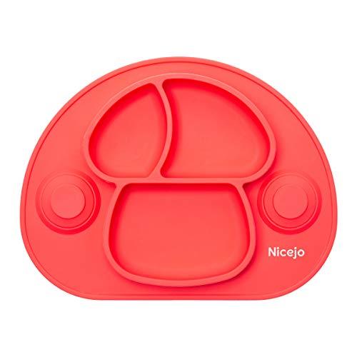 Plato Bebé Con Ventosa - Vajilla de Silicona Alimentaria - Mantel Antideslizante Para Trona - 3 Compartimentos Papilla – Niños 6-18 Meses – Apto Para Lavavajillas Y Microondas (Rojo)