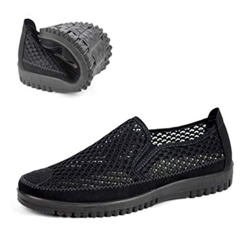 Men Slip-on Loafers Summer Breathable Man Shoes European Stye Casual Round Toe Cut-out Thick Bottom Platform Plus Size 47-38 46 Black 7