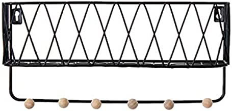 Nordic Minimalist Wrought Iron Wall Shelf, Multifunctional Wooden Bead Coat Hook, Storage Rack Grid Wall Hanging Basket(6 ...