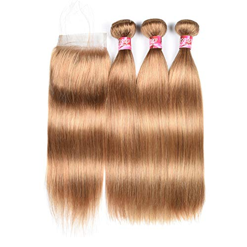 New Year Gifts XCCOCO Honey Blonde 3 Bundles Peruvian Silk Straight Hair with 4x4 Lace Closure Cheap 8A Pure Blonde Color 27# Remy Virgin Human Hair Bundles with Closure(12 14 16inch+10inch Closure)