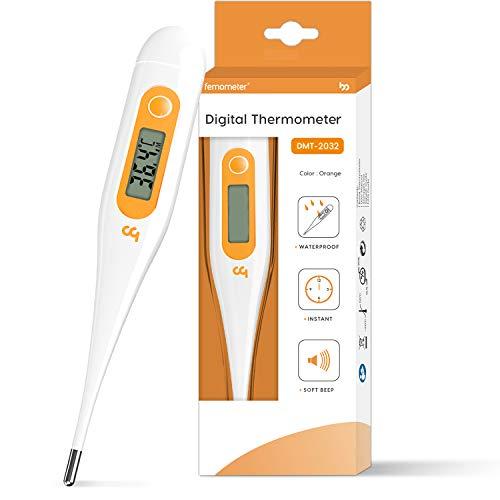 Femometer Digitales Fieberthermometer, Rektal, Oral, Achselthermometer für Baby, Kinder und Erwachsene, Fieberthermometer Digital gut ablesbar & Monitor-Fiebertemperatur