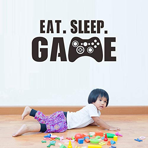 JXMK Game Engels Muursticker zelfklevend Eat Sleep Game woondecoratie PVC graffitisticker 60cm x 30cm