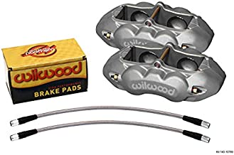 WILWOOD CLEAR ANODIZED BRAKE CALIPER, PAD, AND LINE KIT, 4 PISTON FRONT, COMPATIBLE WITH 1965-1982 CHEVROLET CORVETTE, C2, C3