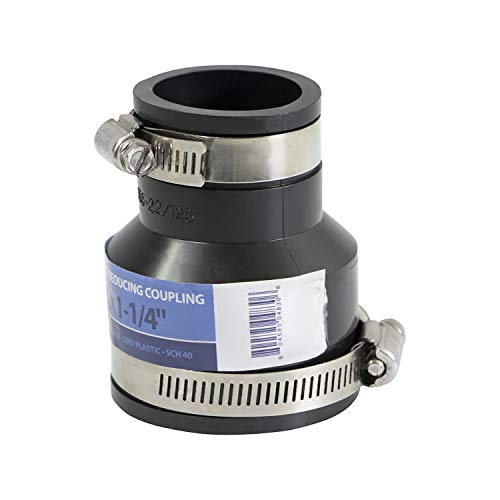 Supply Giant 6I52 Flexible PVC Reducing Coupling with Stainless Steel Clamps, 2' x 1-1/4, Black