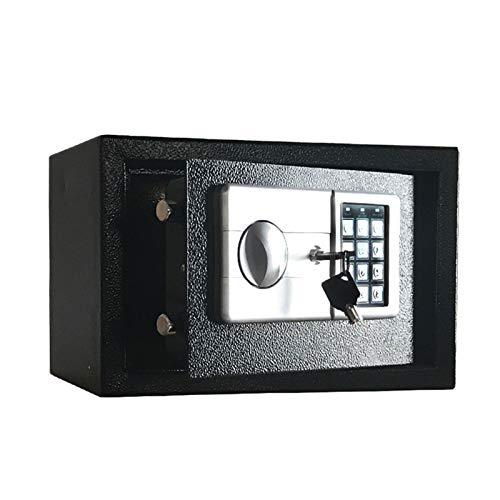 UYTTlhk Home Cajas fuertes digitales, 23x17x17cm Caja de seguridad de acero sólido, Caja fuerte electrónica de seguridad con llave, caja fuerte para dinero en efectivo, Caja fuerte pequeña con volumen