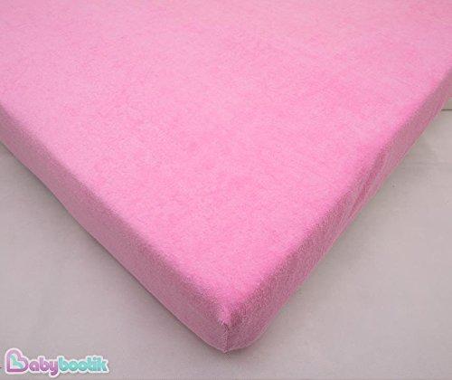 Drap-housse en tissu éponge imperméable Protection de matelas, matelas pour lit bébé 140 x 70 cm – Rose