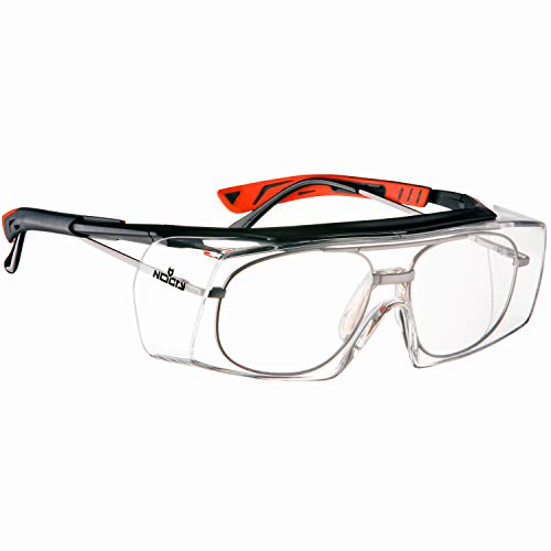 NoCry Over-Glasses Safety Glasses - with Clear Anti-Scratch Wraparound Lenses, Adjustable Arms, Side Shields, UV400 Protection, ANSI Z87 & OSHA Certified (Black & Red)
