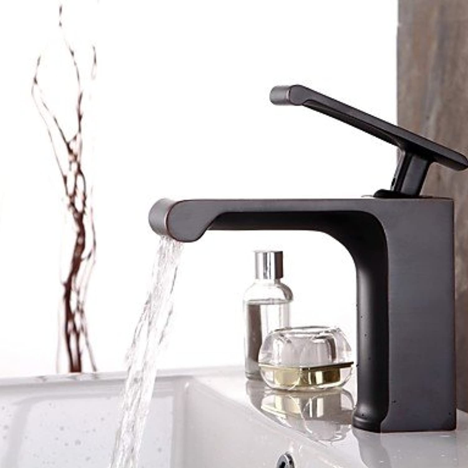 Contemporary Waterfall Single Handle Oil-rubbed Bronze Finish Bathroom Sink Faucet - Black