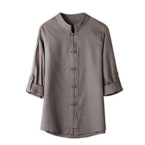 KEERADS-vêtements Chemise Homme Classique Style Chinois Kung Fu Chemise Tops Costume Tang 3/4 Manche Chemisier en Lin Casual Chemise De Couleur Unie M-XXXL(X-Large,Gris)