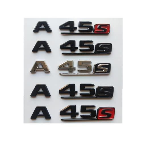 Stemma distintivo cromato nero con lettere del tronco distintivo per Mercedes Benz W176 W177 AMG A45 S 4MATIC 4MATIC + 2018-2020 (argento lucido), A45 S)