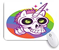 KAPANOU マウスパッド、虹の背景と緑の目で落書きスタイルの漫画ユニコーンの頭蓋骨おかしい おしゃれ 耐久性が良い 滑り止めゴム底 ゲーミングなど適用 マウス 用ノートブックコンピュータマウスマット