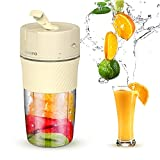 Portable Blender, CIYOYO Personal Size Blender Milk Shakes and Smoothies Fruit Juice USB Rechargeable One-handed Drinking Mini Juicer Cup Home Office Sports Travel Outdoors, BPA-free