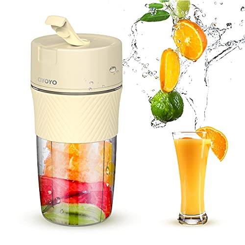 Portable Blender Travel Rechargeable - CIYOYO 10 oz Mini Personal Size Blender Milk Shakes and Smoothies Fruit Juice USB One-handed Drinking Juicer Cup Home Office Sports Outdoors, BPA-free