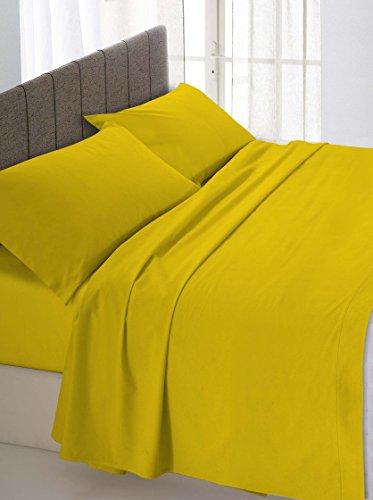 ki-atreve Sheets MT Bosio onder hoeken met oker eenpersoonsbed 90 x 200 cm