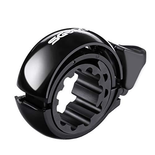 SGODDE Campanello per Bici, Fashion Q Design Invisibile Bicicletta Bell, 22-31 mm Alluminio Bicicletta Bell Anello per Le Bici Corno, Accessori Classici Durevole Crisp Forte (Black 02)